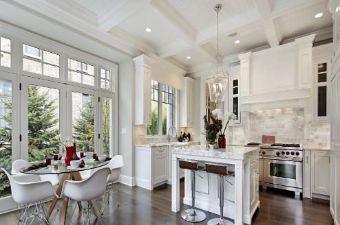 white kitchen in high end luxury apartment